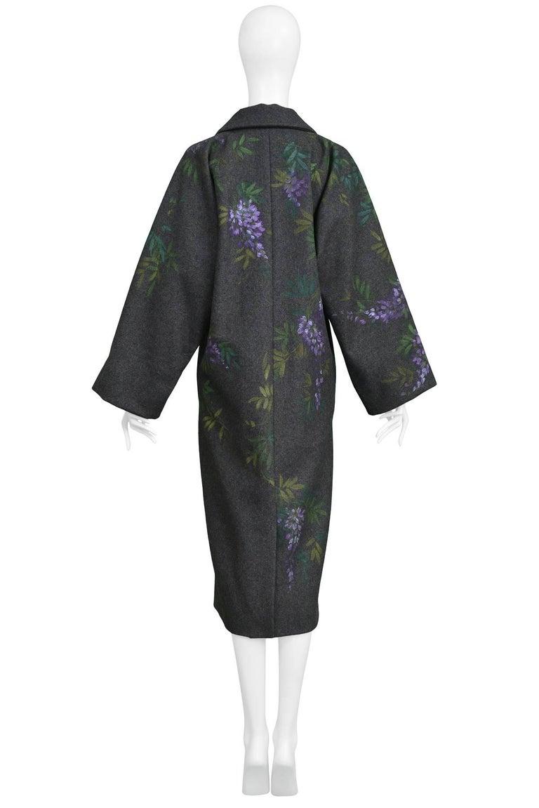 Vintage Dolce & Gabbana Hand-painted Flowers + Birds Wool Kimono Coat 1998 For Sale 1