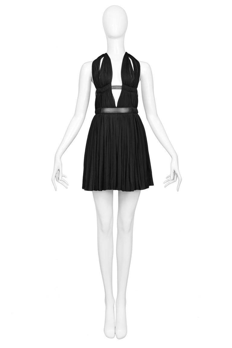 Vintage Azzedine Alaia ultra-rare museum quality Goddess Mini Dress with halter plunge neckline, double belted waist & cut-out details. Spring/Summer 1991 Collection.  Excellent Condition; Prestine.  Size: 38