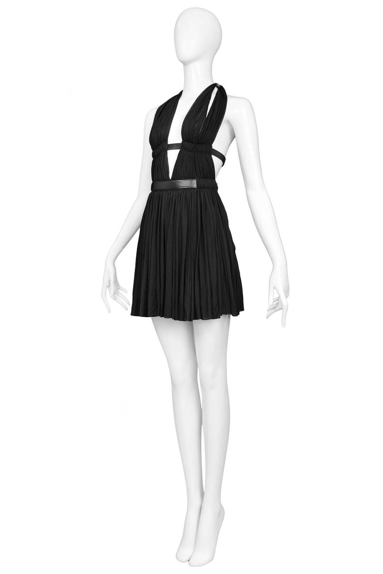 Black Alaia Vintage Goddess Mini Dress, 1991   For Sale