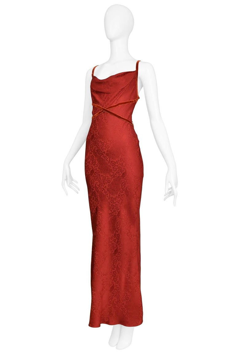 John Galliano Vintage Red Velvet Ribbon Bias Slip Gown In Excellent Condition For Sale In Los Angeles, CA
