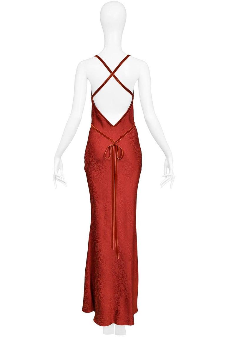 Women's John Galliano Vintage Red Velvet Ribbon Bias Slip Gown For Sale