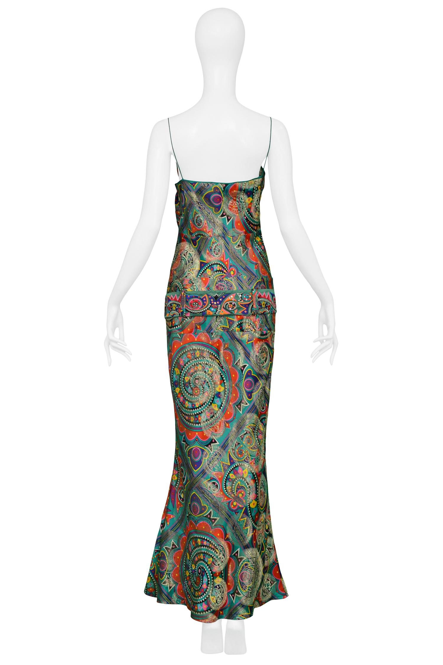 Vintage John Galliano Paisley Silk Belted Gown For Sale at 1stdibs