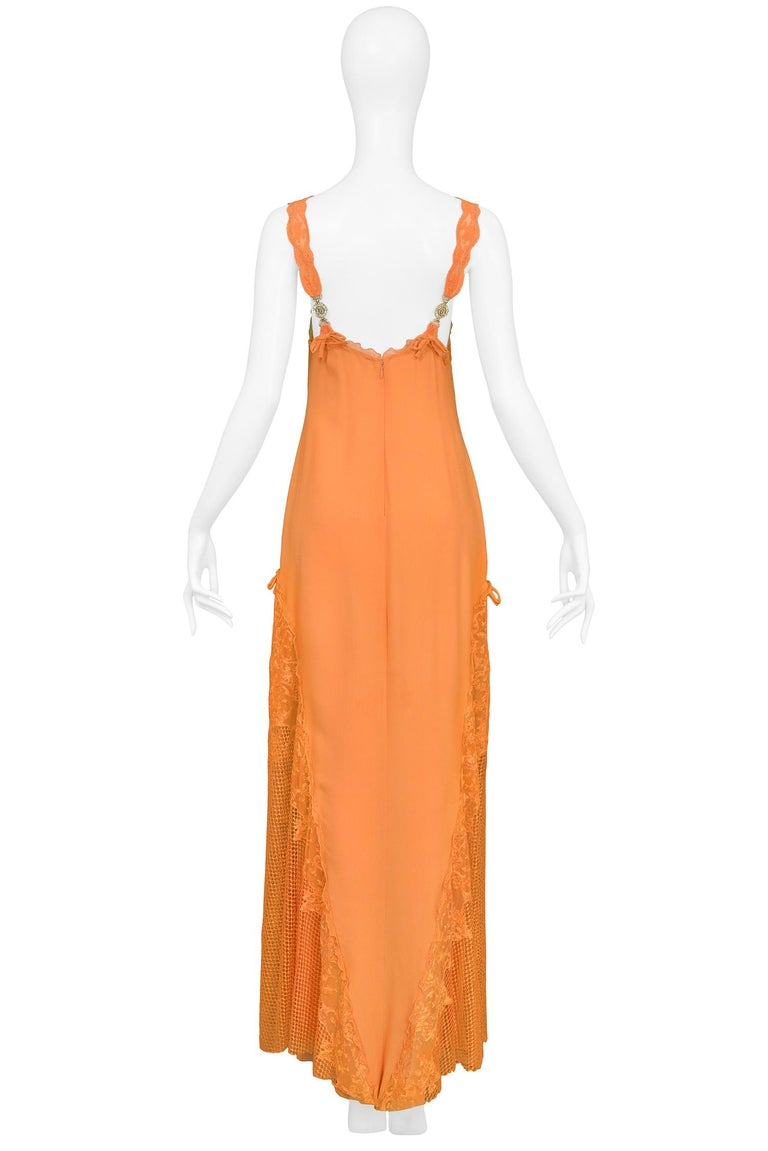 Vintage Gianni Versace Apricot Lace Runway Gown 1997  For Sale 2