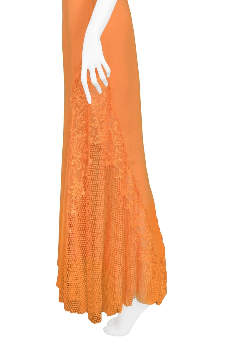 Vintage Gianni Versace Apricot Lace Runway Gown 1997  For Sale 1