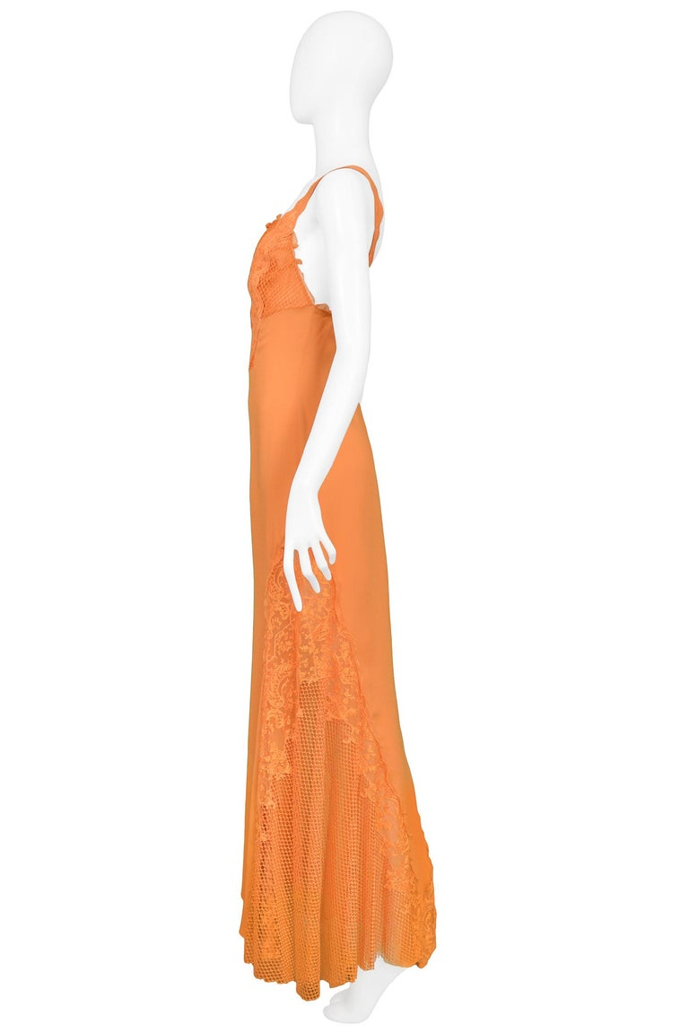 Women's Vintage Gianni Versace Apricot Lace Runway Gown 1997  For Sale