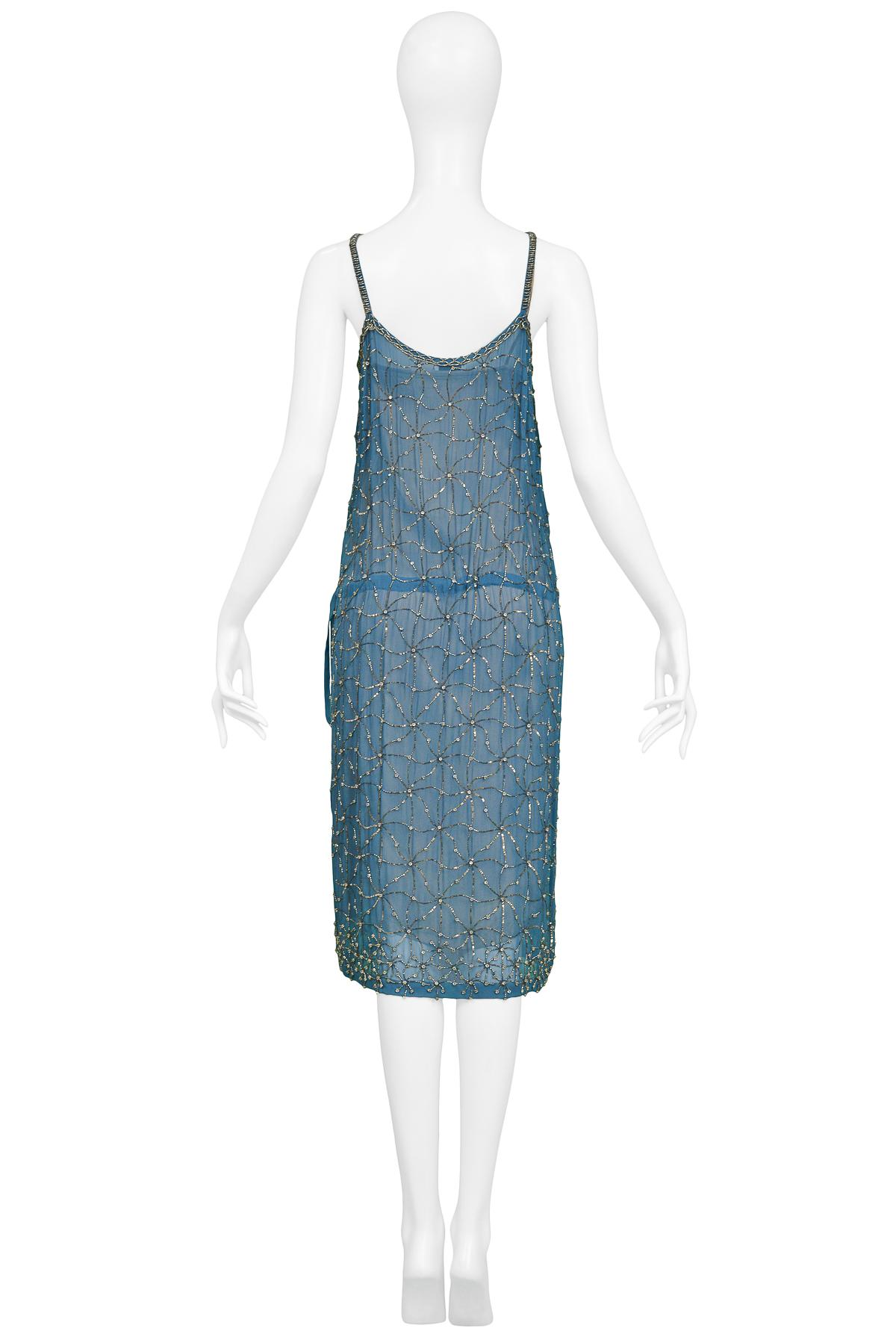 b87de9e18ad95d Vintage Dries Van Noten Blue Beaded Slip Dress For Sale at 1stdibs
