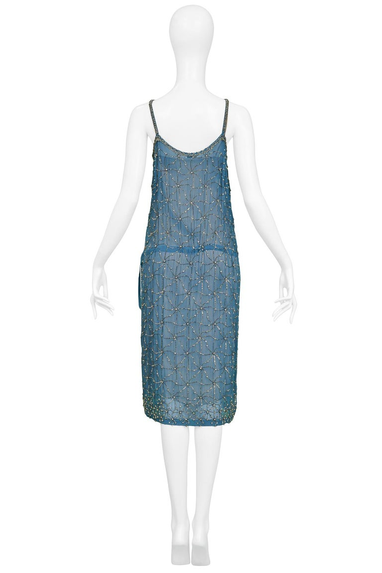 dd49c6cca387b4 Vintage Dries Van Noten Blue Beaded Slip Dress In Excellent Condition For  Sale In Los Angeles