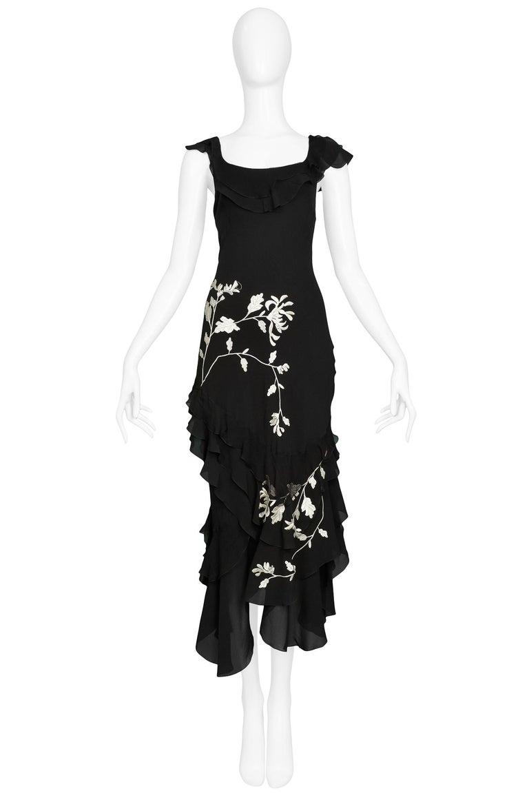 Vintage John Galliano black silk chiffon bias slip dress with white floral embroidery, ruffle hem, neckline & sleeves.  Excellent Condition.  Size: 38