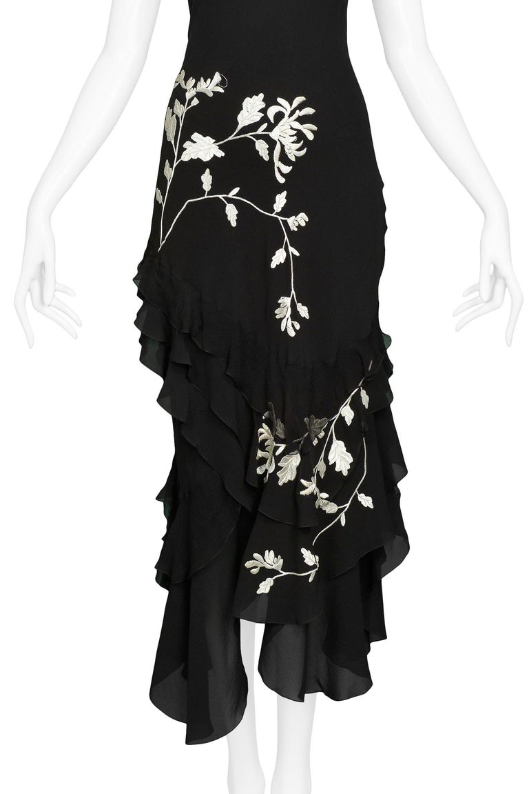 Black Vintage John Galliano Chiffon & Floral Embroidered Dress For Sale