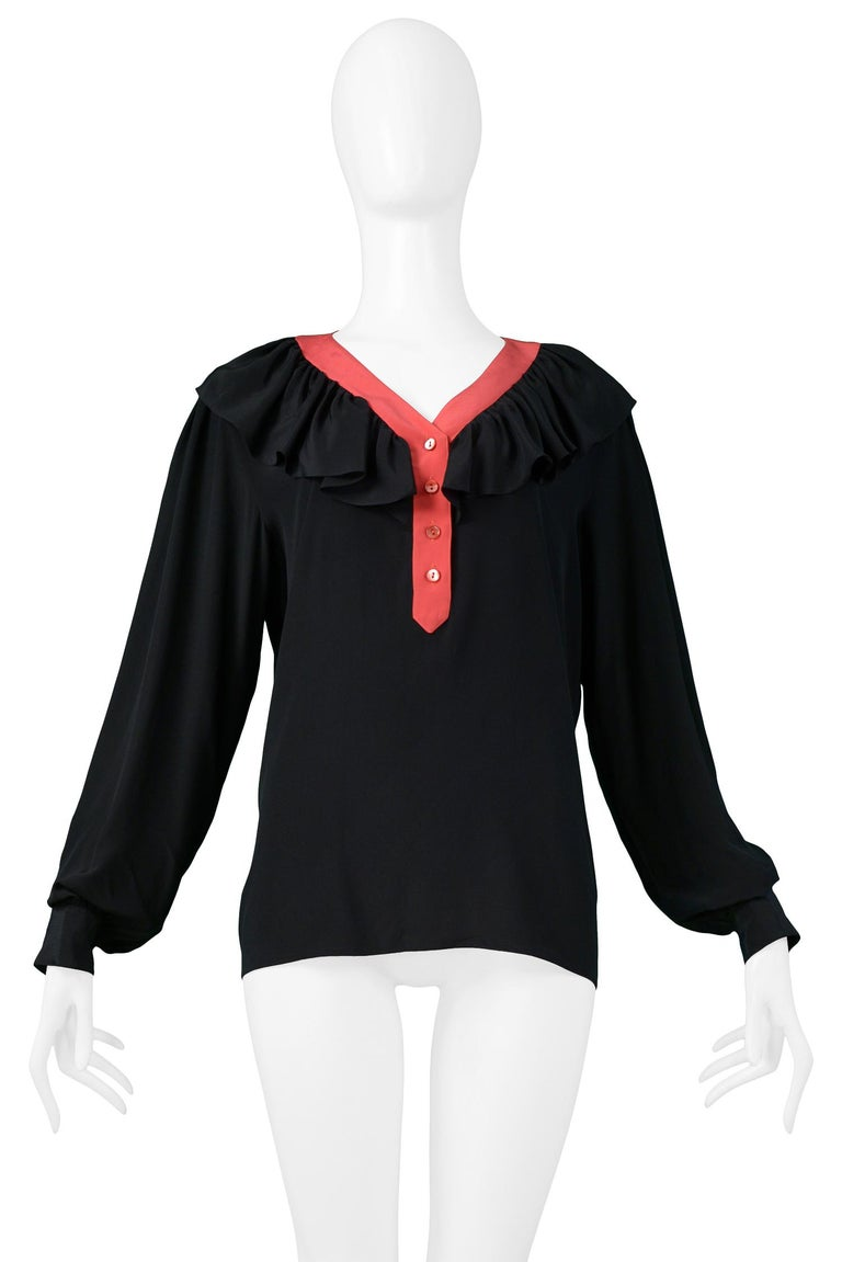 Women's Vintage Yves Saint Laurent Black & Red Silk Ruffle Blosue For Sale