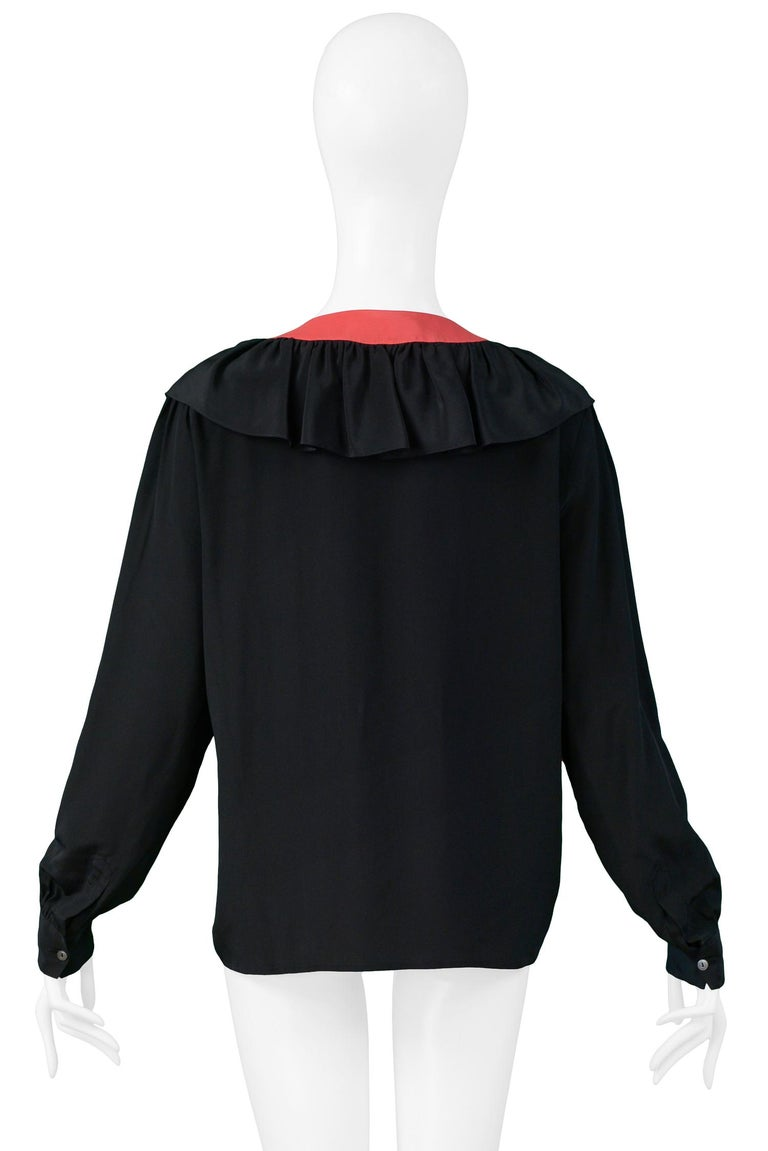 Vintage Yves Saint Laurent Black & Red Silk Ruffle Blosue For Sale 1