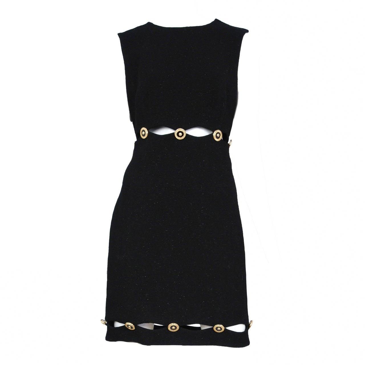 Versace Black slit medallion dress 1