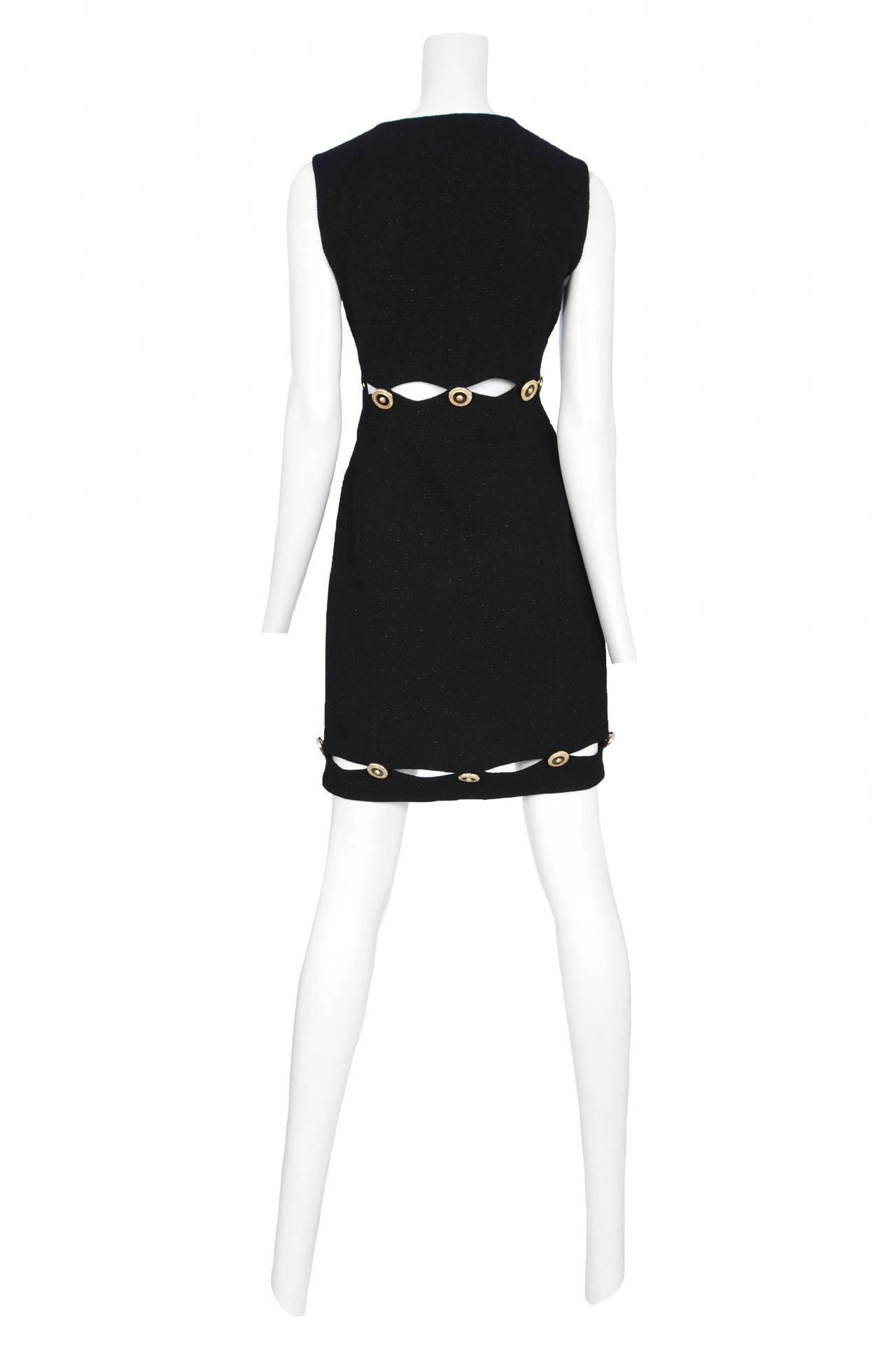Versace Black slit medallion dress 2