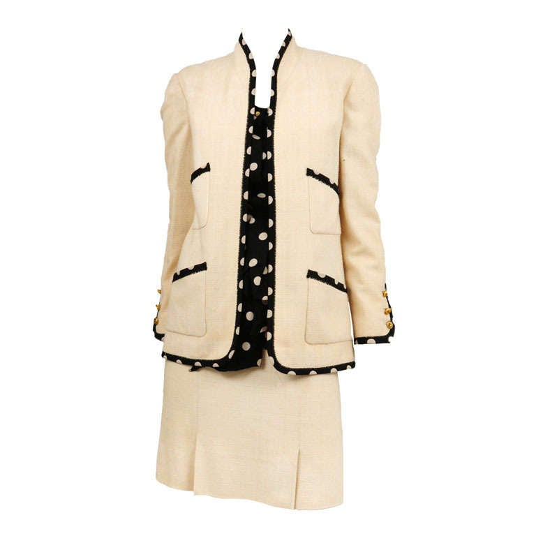 Chanel Linen Polka Dot Suit 2