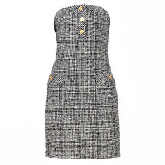 Chanel Houndstooth Strapless Dress
