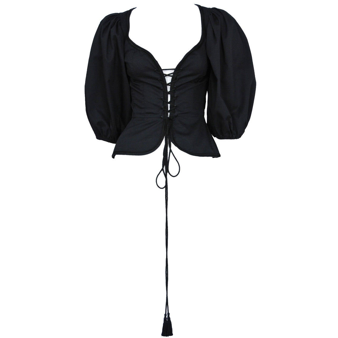 Vintage Yves Saint Laurent iconic black safari top with traditional peasant sleeves and a lace up front and peplum finished off with tassels on either end of the cord.