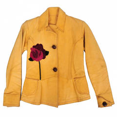 East West Leather Butter Yellow Flower Applique Jacket