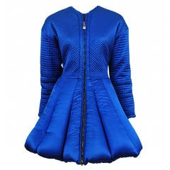 Gianni Versace Blue Quilted Puffer Coat