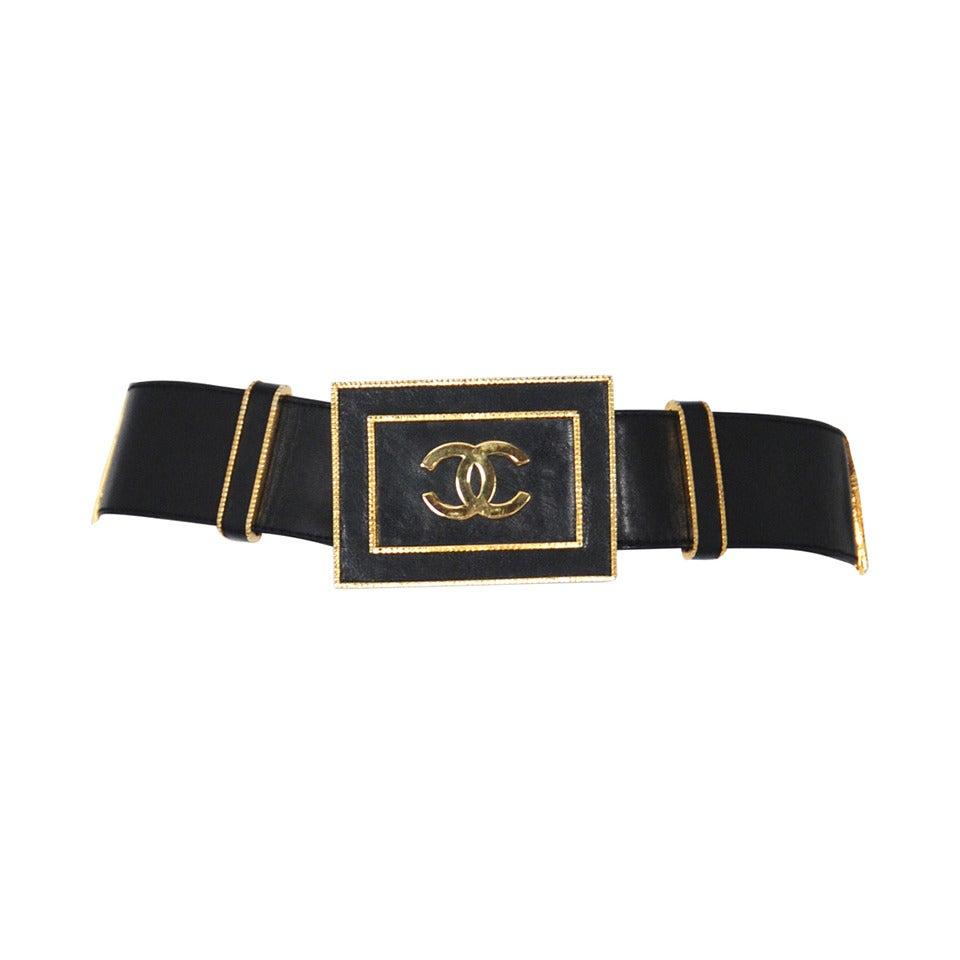 Chanel Leather Logo Belt At 1stdibs