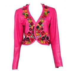 Yves Saint Laurent Pink Leather Jeweled Jacket