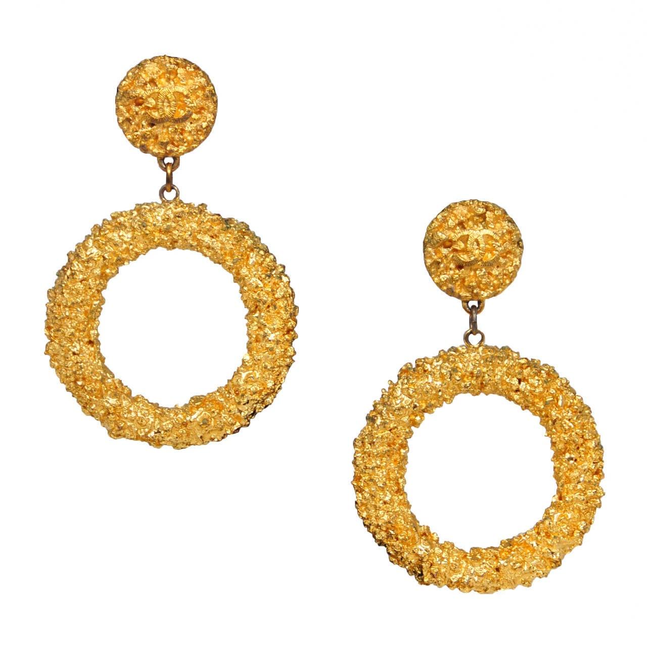 chanel gold hoop earrings at 1stdibs