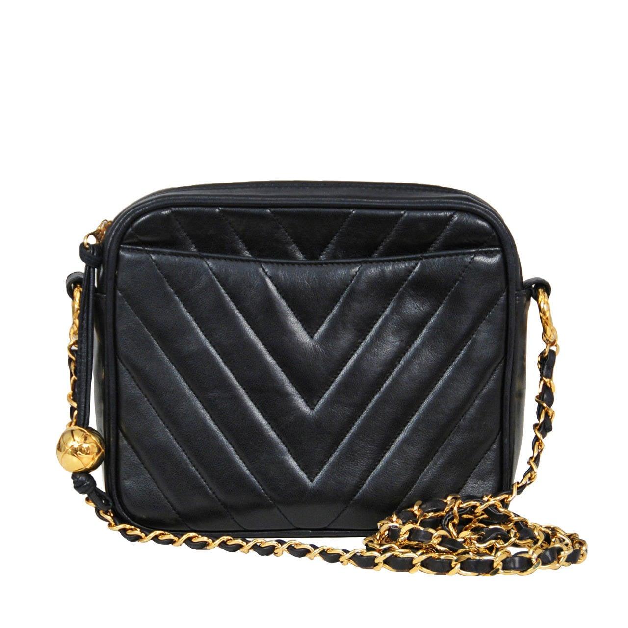 05da3895eb140d Chanel Chevron Stripe Crossbody Bag For Sale. Vintage Chanel black lambskin chevron  quilted ...
