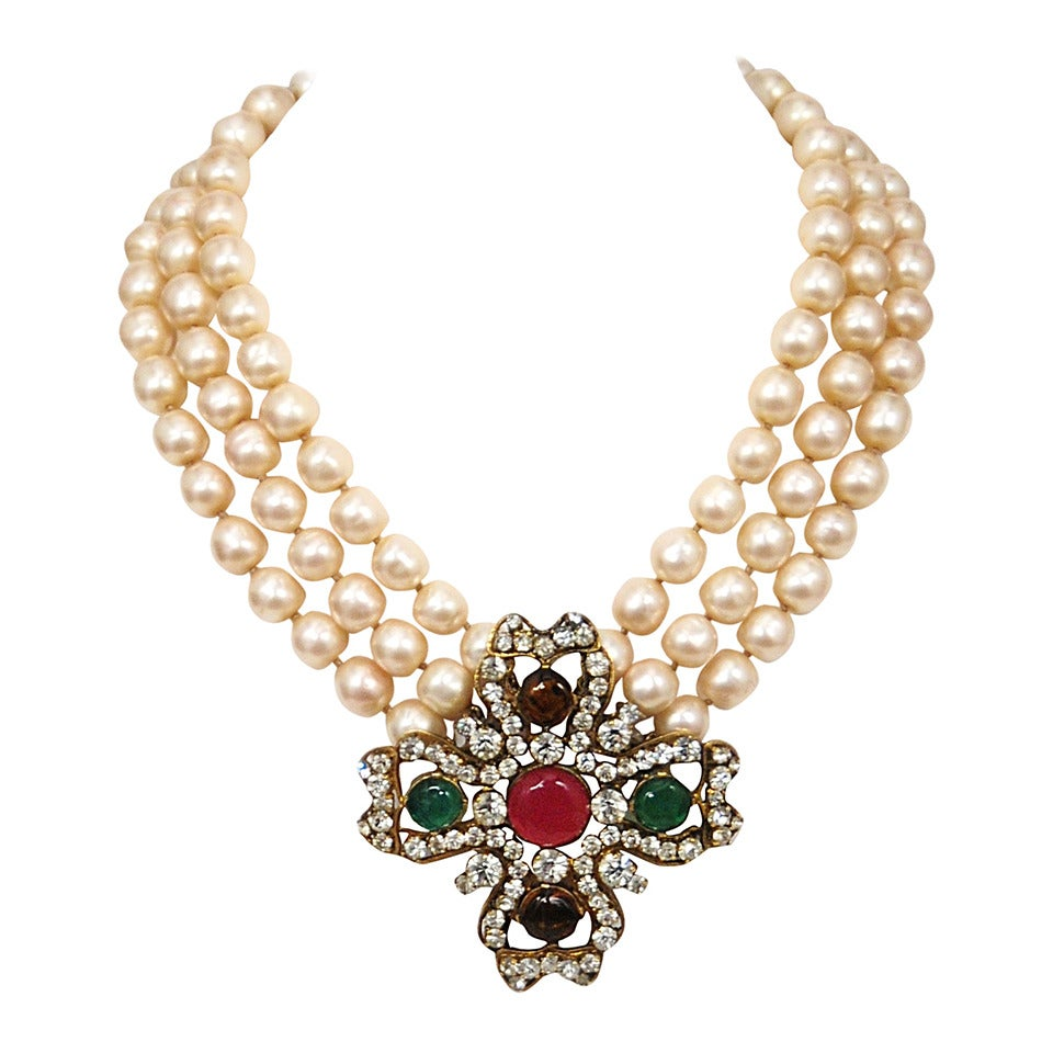 Chanel Pearl And Gripoix Necklace At 1stdibs