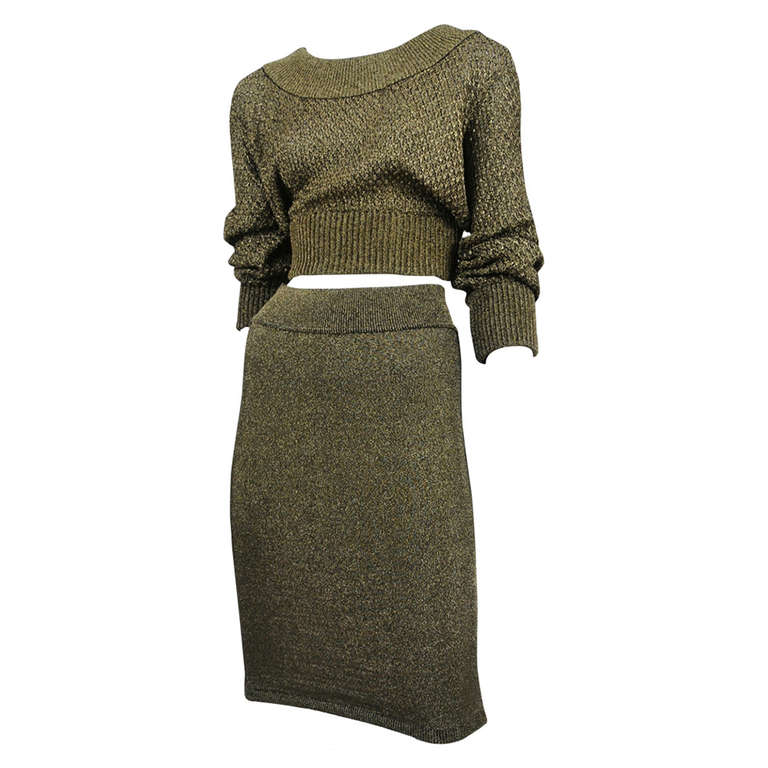 Alaia Gold Knit Two Piece 1