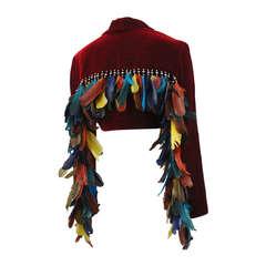 Ozbek Velvet Jacket with Feather Detail