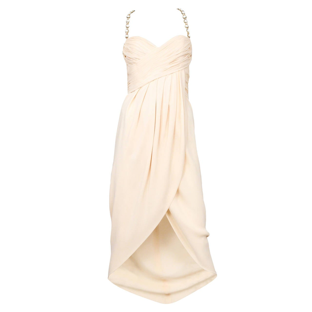 Chanel Cream Silk Pearl Strap Dress 1