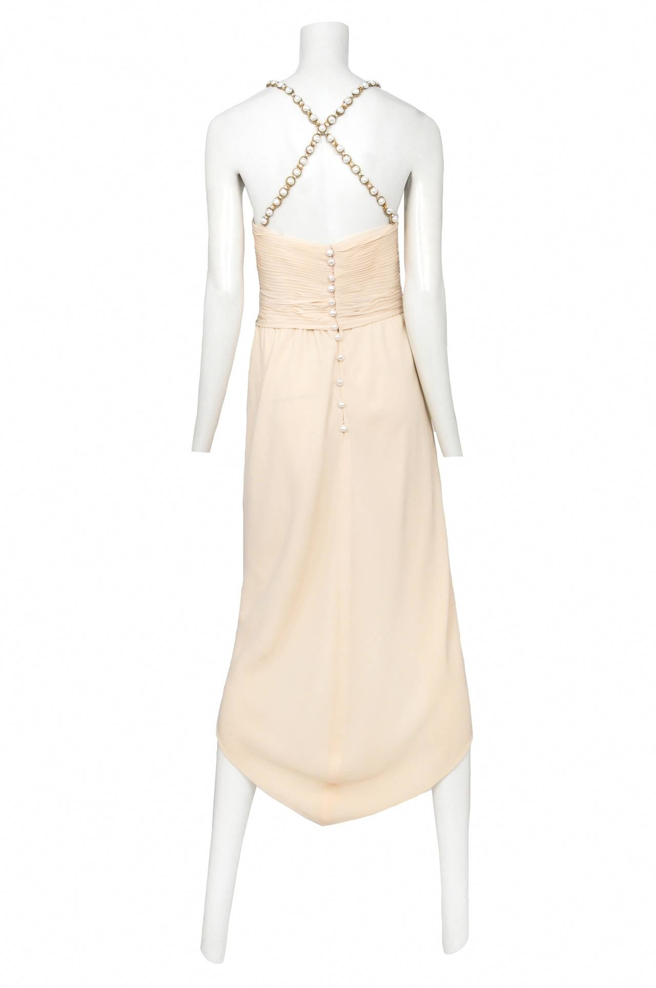 Chanel Cream Silk Pearl Strap Dress 2