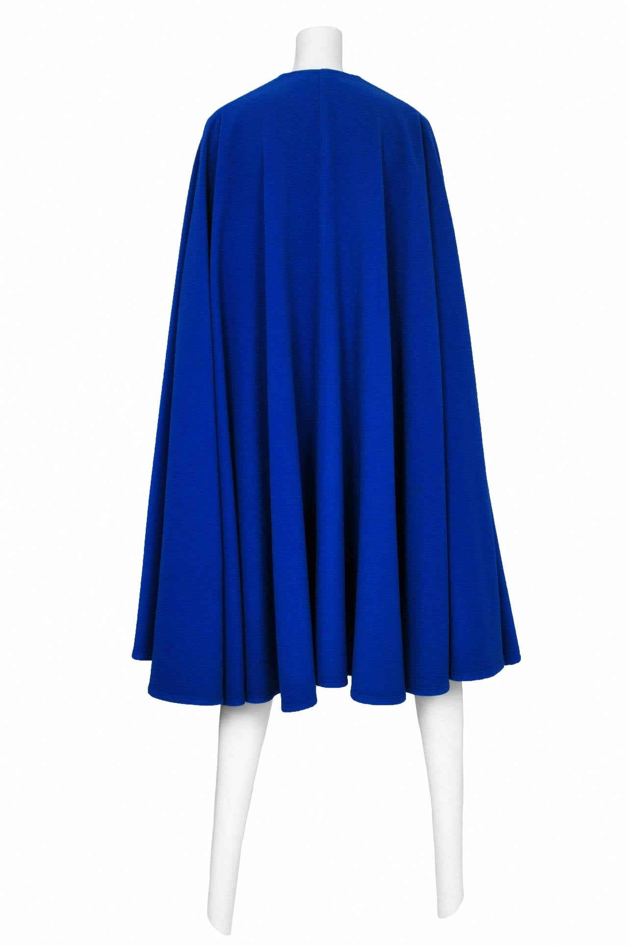 Yves Saint Laurent Blue Wool Cape 5