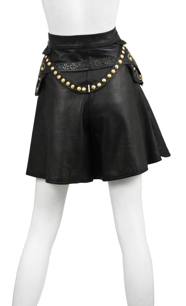 Leather Embellished Versace Shorts 2