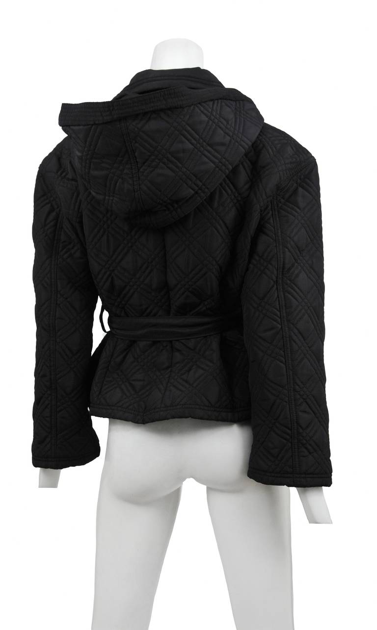 Black Quilted Double Breast Versace Jacket For Sale
