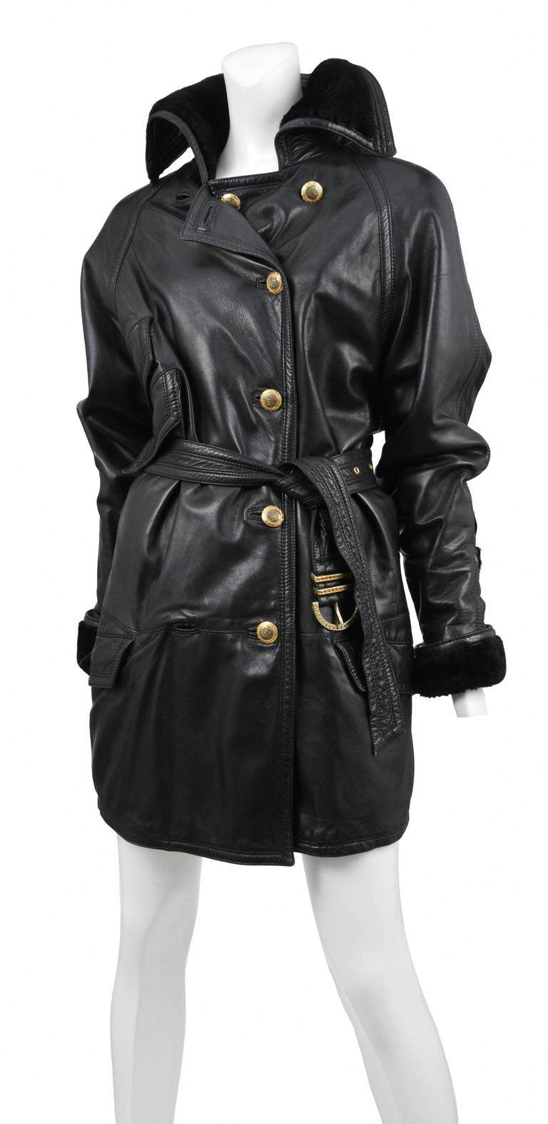 Versace Leather Over Coat 2