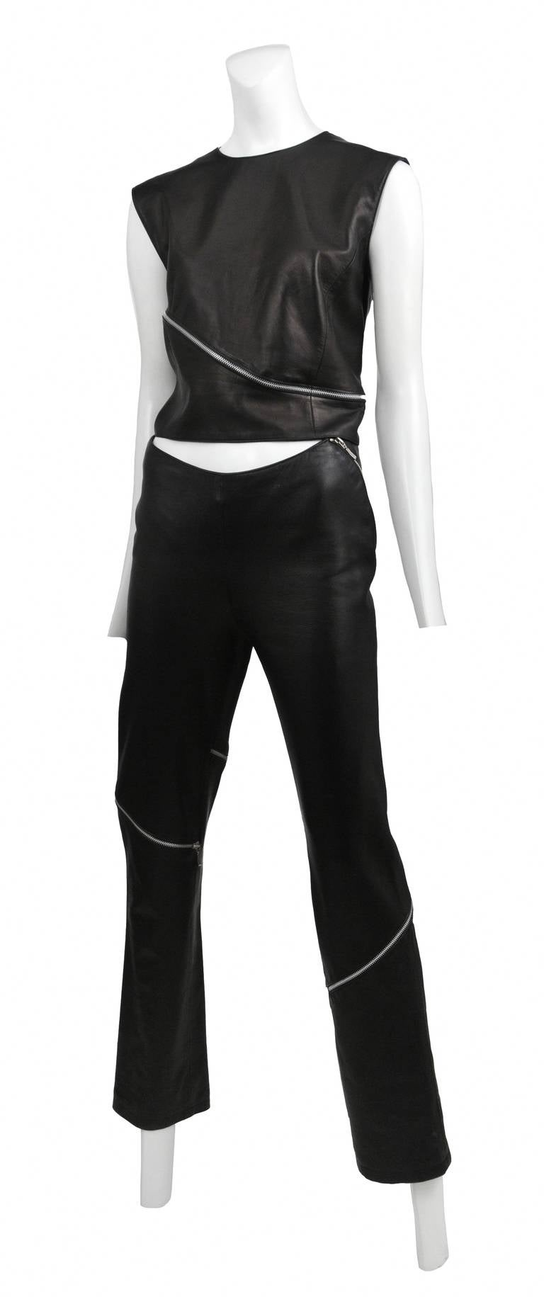 Leather Zipper Versace Pant Set 2