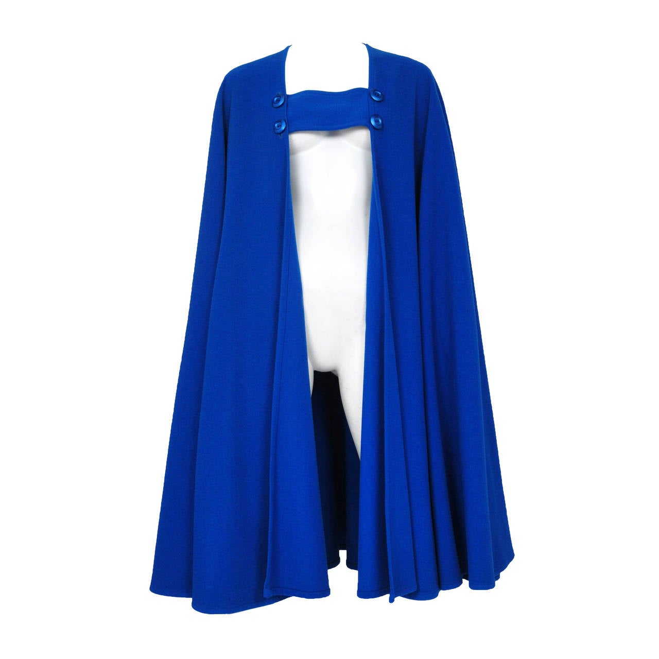 Yves Saint Laurent Blue Wool Cape 2