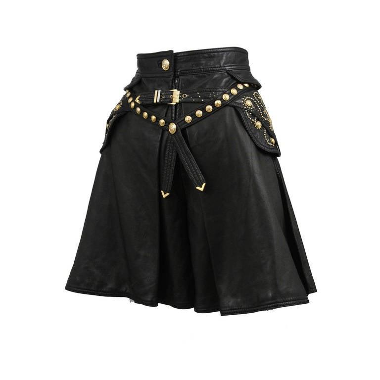 Leather Embellished Versace Shorts 1