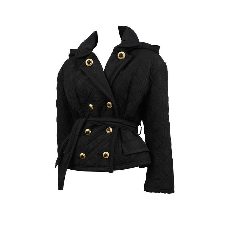Quilted Double Breast Versace Jacket For Sale