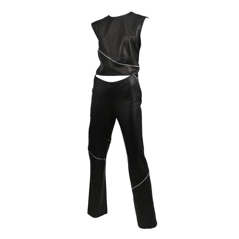 Leather Zipper Versace Pant Set 1