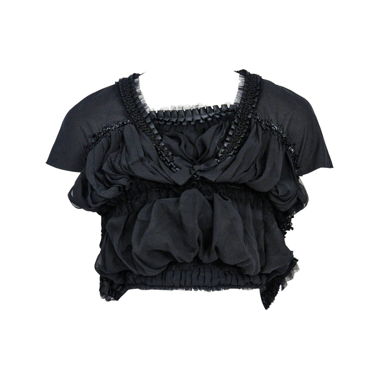 Comme Des Garcons Black Gathered Ribbon Top