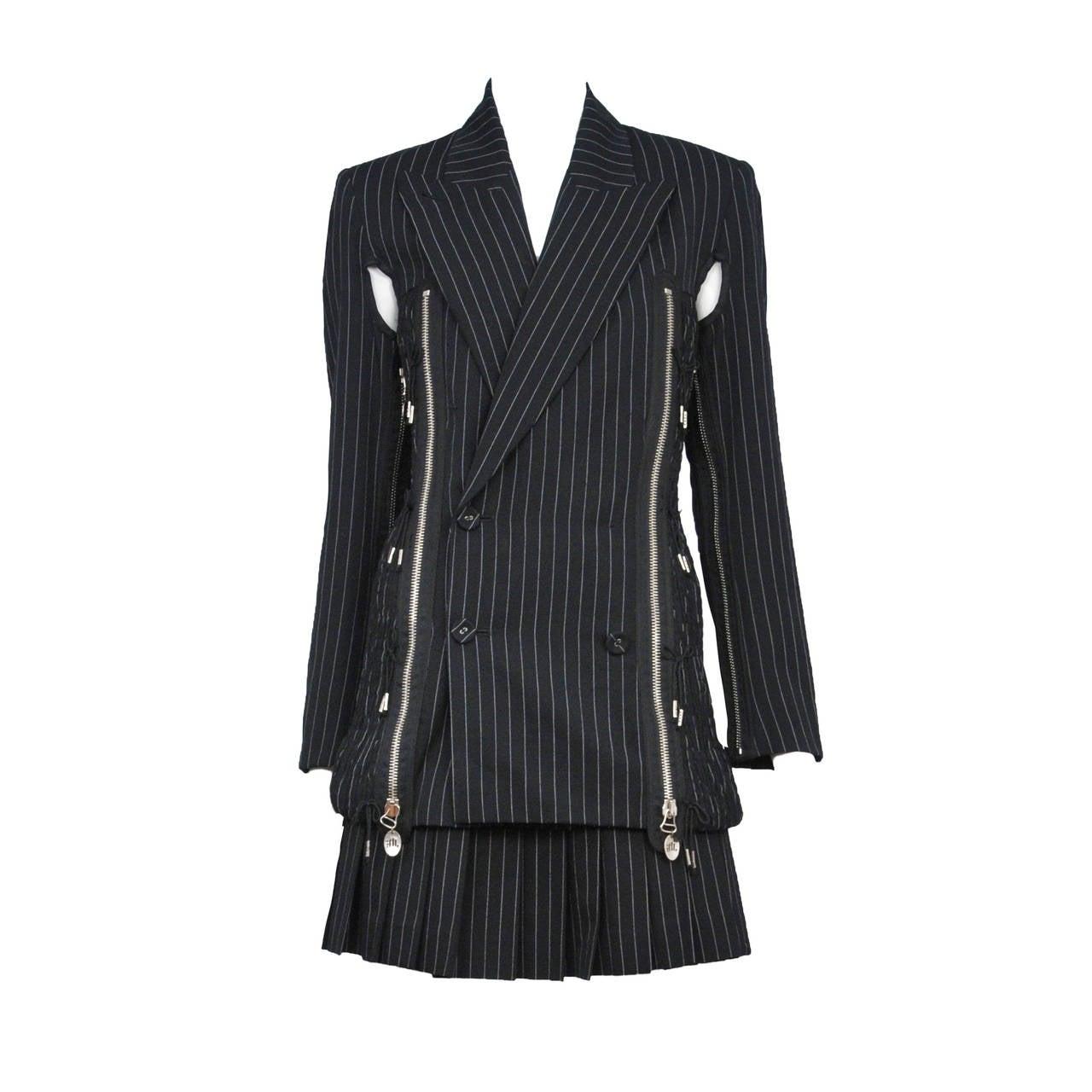 Gaultier Pin Stripe Zipper Suit 1