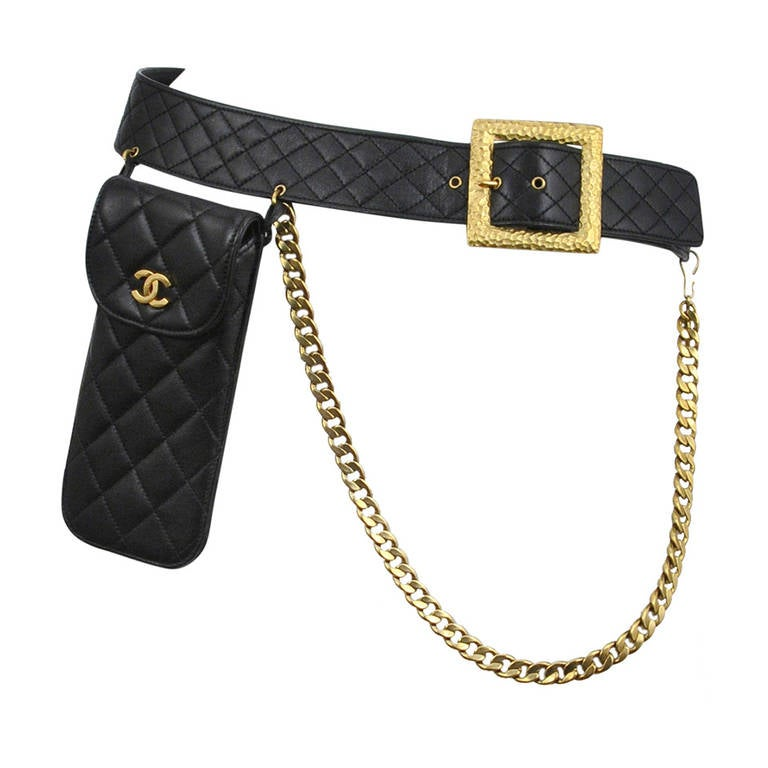 Chanel Leather Quilted Holster Belt w/ Chain For Sale