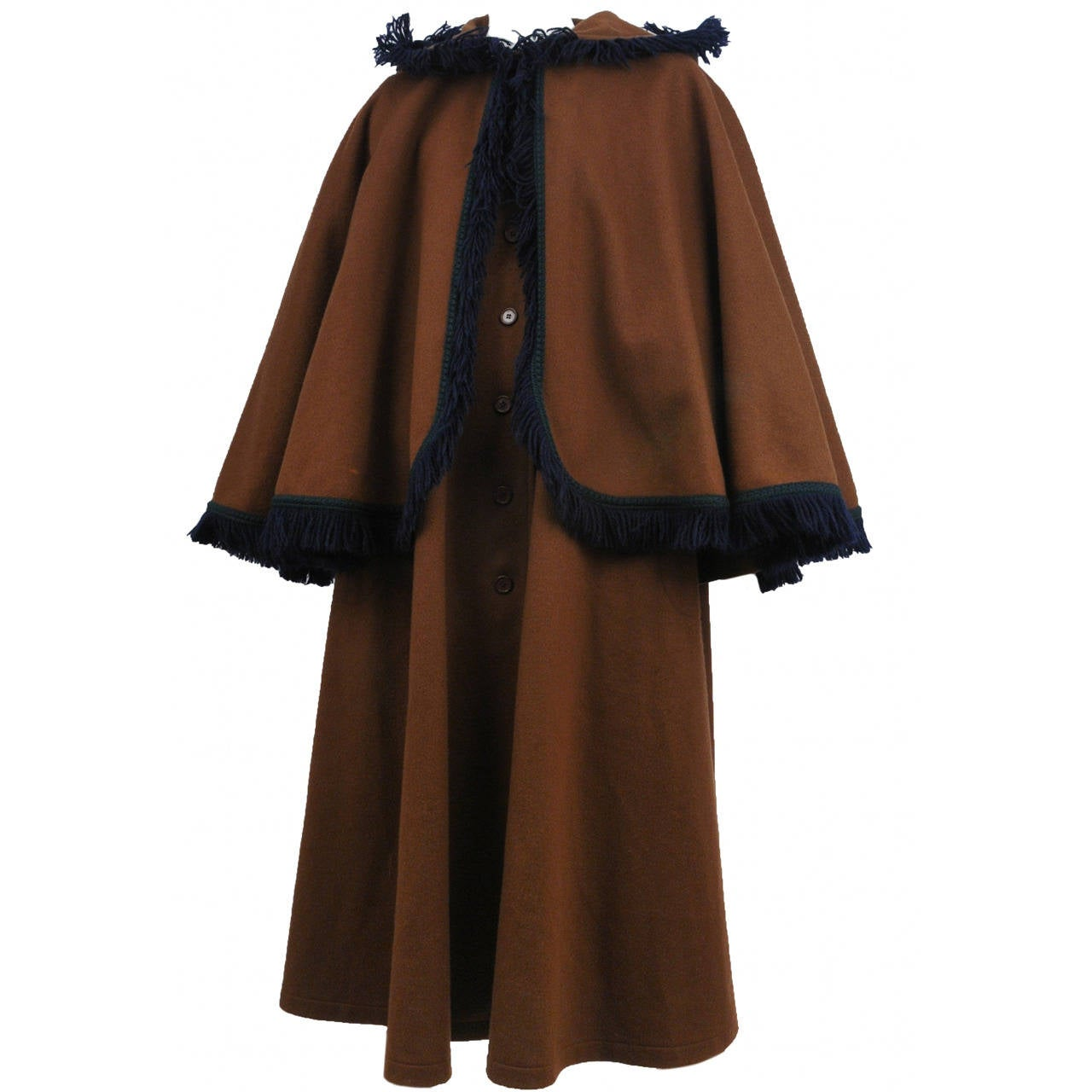 Yves Saint Laurent Brown Wool Cape Coat 2