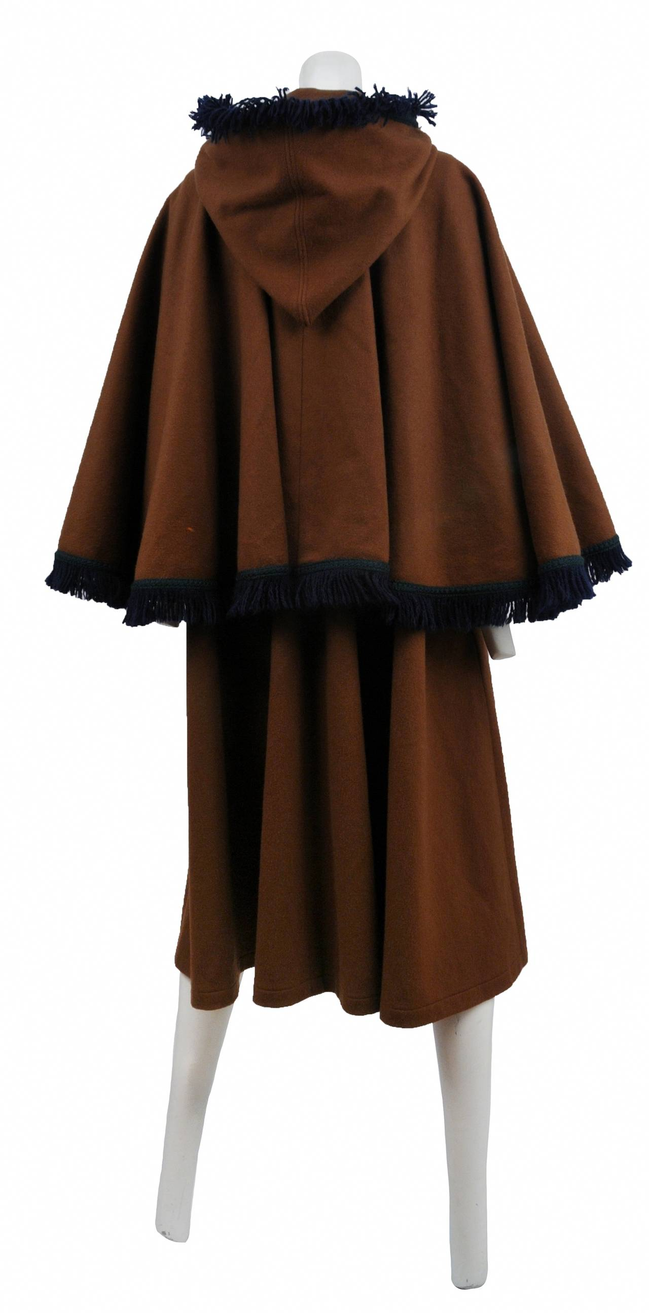 Yves Saint Laurent Brown Wool Cape Coat 4