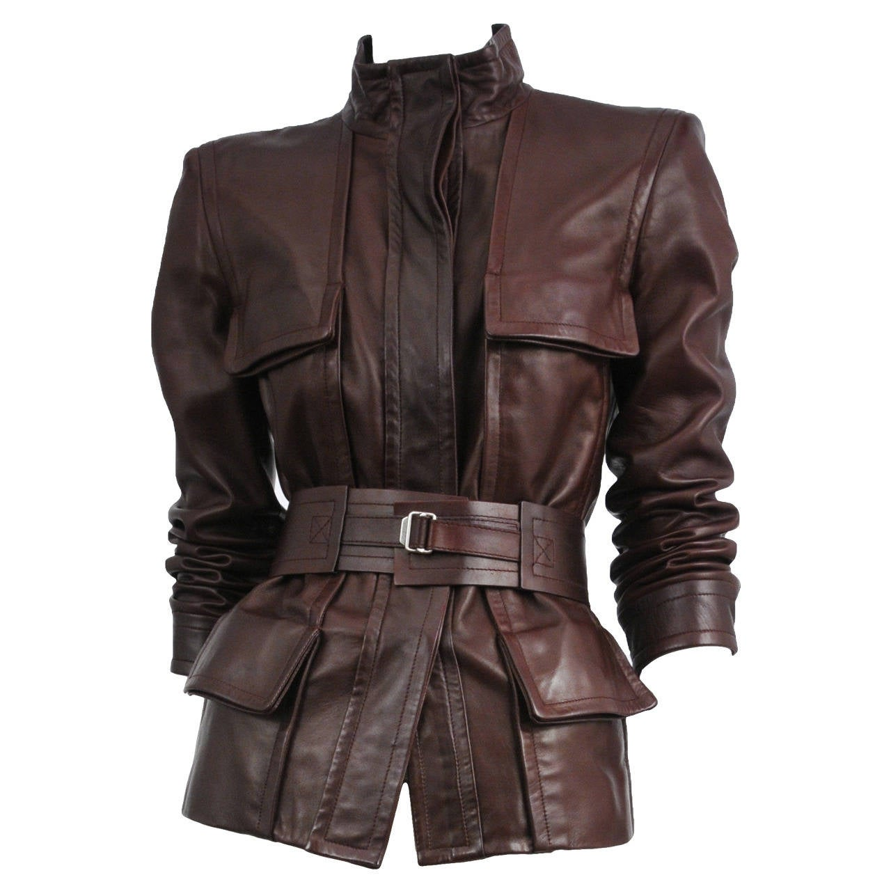 Tom Ford Burgundy Leather Belted Jacket For Sale