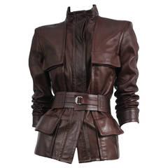 Tom Ford Burgundy Leather Belted Jacket