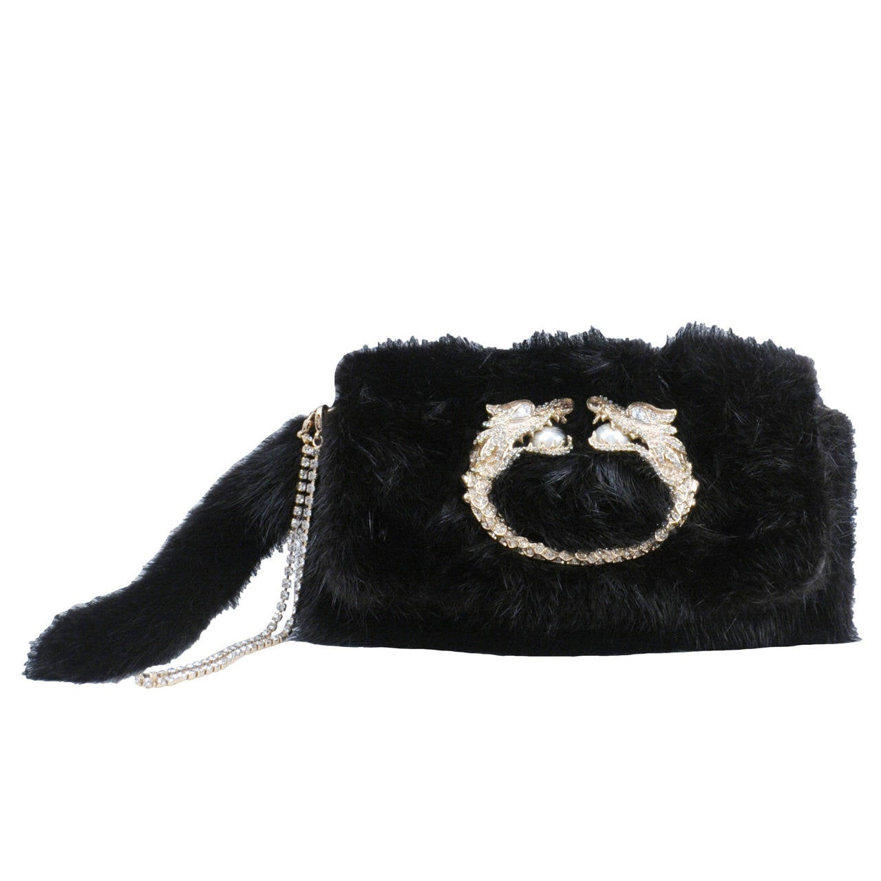 Tom Ford Mink Clutch with Encrusted Dragon Emblem 1