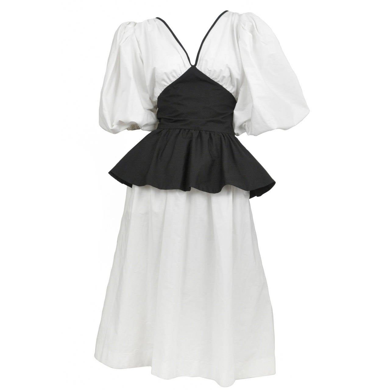 Yves Saint Laurent Black & White Peasant Dress