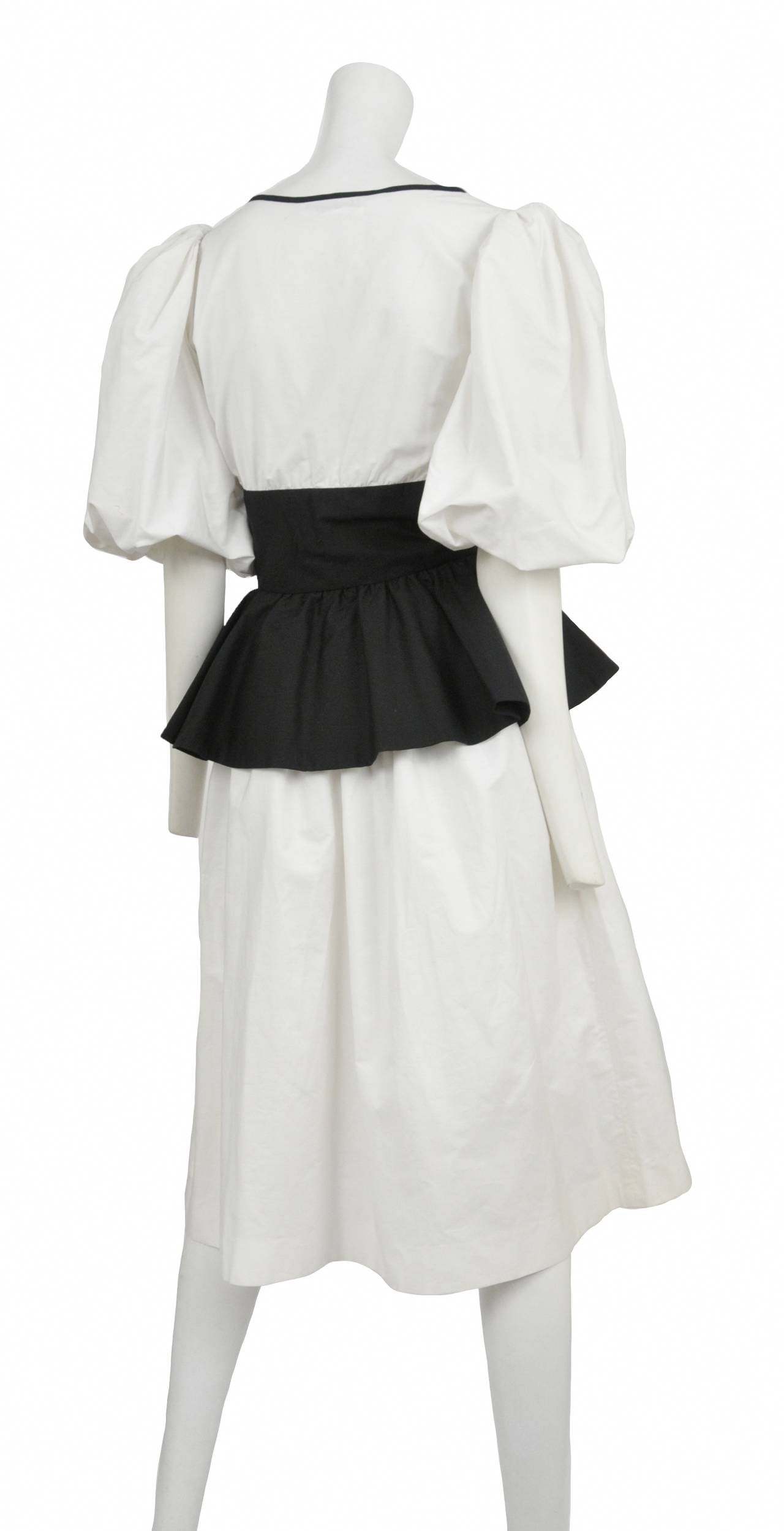 Yves Saint Laurent Black & White Peasant Dress 2